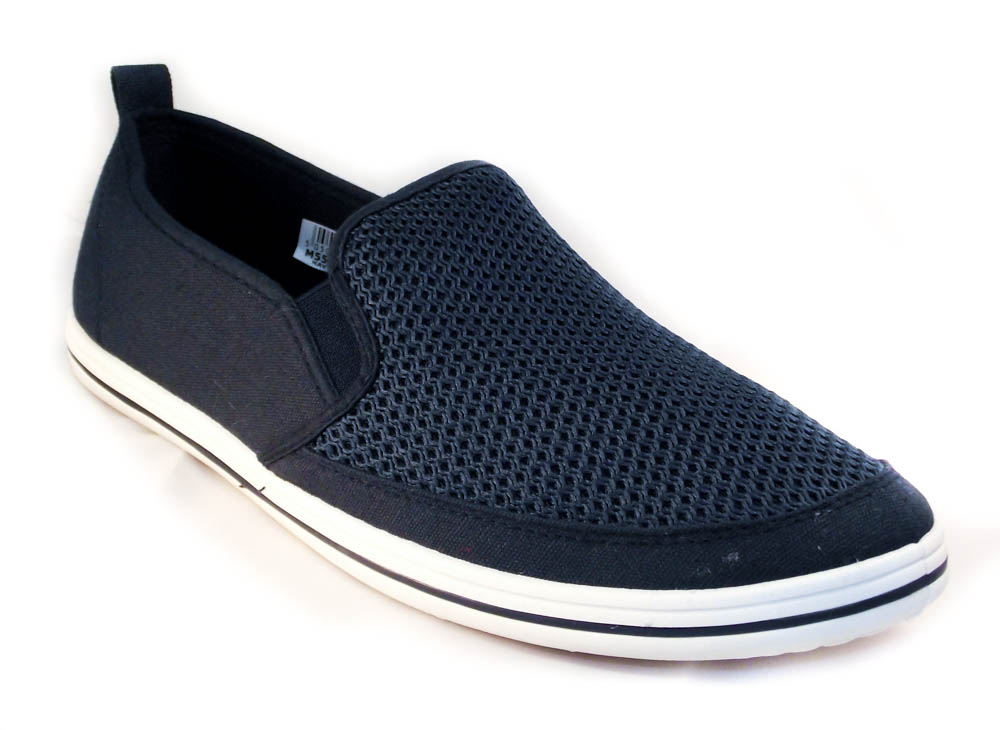 navy gusset casual yachting shoe